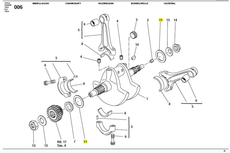 Ducati Shim For Crankshaft Th 220 Red 85211041g